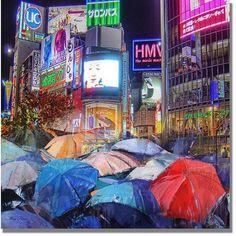 Trademark Fine Art Rainy Night in Tokyo Canvas Art, Size: 24 x 24, Multicolor