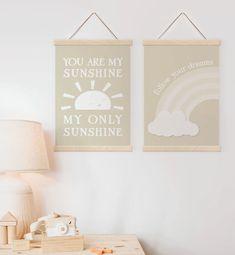 Neutral Nursery Prints You Are My Sunshine Nursery Wall | Etsy Nursery Prints, Nursery Wall Art, Wall Art Prints, Personalised Family Print, Feather Wall Art, Scandinavian Nursery, Rainbow Print, Nursery Neutral, You Are My Sunshine