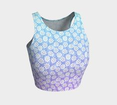 Dreamy daisys print crop top is perfect for your yoga session, the beach or dancing. Printed crop tops pair with our yoga leggings and shorts. Athletic Crop Top, Dance Routines, Yoga Session, Yoga Leggings, Dancing, Active Wear, Crop Tops, Shorts, Printed
