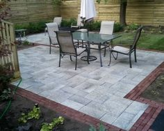 Brick Lined Flagstone Patio