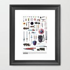 Famous Weapons Framed Art Print by Daniel Nyari - $35.00