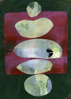 """The Old Cells Studio - Michèle Brown Art  Calm: Acrylic, gelli plate printing and collage approx 7""""x9"""""""