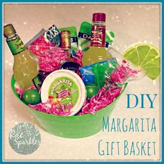DIY Margarita Gift Basket: Bucket/Basket; Raffia or Bright colored shred; Bottle of Tequila; Bottle of Mix; Bottle of Triple Sec?; Margarita salt; (2) Margarita Glasses; OPTIONAL: Drink Stirrers, Cocktail Napkins/Coasters and Limes (cutting board & knife)?; shot glass/measure; shaker/mixer glass; *Lime shaped/design recipe card?