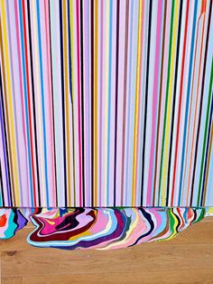 Striped wall design, you could do on a large canvas for a bare wall