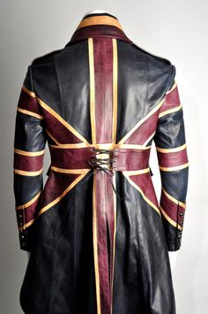 Union Jack Mens Leather Diamond Jubilee Exclusive Steampunk Tail coat Impero London