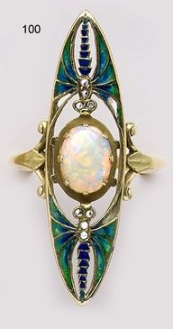 Bvlgari cabochon jewelry | Ring | Eugène Feuillâtre. Opal, plique-à-jour enamel, diamond and ...