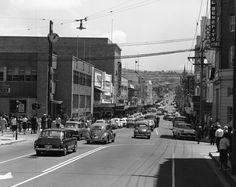 Hobart, looking up Elizabeth Street - Circa 1965.