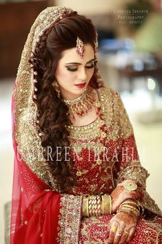 Ayza khan at bridal couture week 2013 day 1 Pakistani Bridal Hairstyles, Pakistani Bridal Makeup, Pakistani Wedding Outfits, Bridal Lehenga, Bridal Mehndi, Wedding Hairstyles, Bridal Looks, Bridal Style, Pakistan Bride