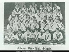 The women's Indoor Baseball squad in 1922, with uniforms that are similar to girl scouts.