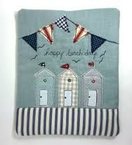 iPad Cover Beach Huts and Bunting Wendy Cook, Modern Vintage. Freehand Machine Embroidery, Free Motion Embroidery, Free Machine Embroidery, Free Motion Quilting, Embroidery Applique, Sewing Appliques, Applique Patterns, Applique Designs, Embroidery Designs