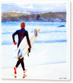 Cornwall Canvas Print featuring Heaven Is On A Wave - Surfer At Newquay by Mark E Tisdale