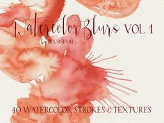 Watercolor Blurs Vol 1: Set of 40 watercolor strokes and textures, commercial license.  Commercial use: you can make whatever you need with them but reselling them or claiming them as your own creation. No need to purchase aditional licenses.  600 dpi, mixed sizes and colors. 40 strokes / textures. See contents in the images of this listing. PNG and JPG files included Note: these are NOT recommended for dark backgrounds or colored backgrounds.