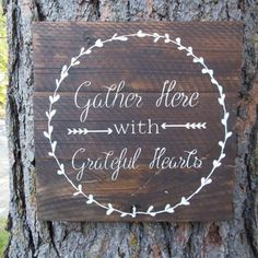 "Joyful Island Creations ""Gather here with grateful hearts"" wood sign, thanksgiving sign, dining room sign, fall sign                                                                                                                                                     More"