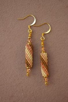 How to Make an Easy Peyote Stitch Beaded Bead: A pair of earrings made with easy peyote stitch beaded beads.