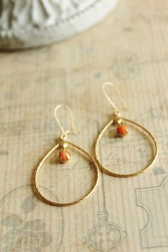 Antique Gold Hoop Earrings. Coral Beads. by JennyMoralesJewelry