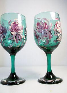 Vintage Green Glass Stemware Hand Painted by FolkArtByNancy