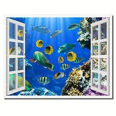 "BIBITIME The Sea Washed the Seashore Reef Wall Decal Ocean Wave Vinyl Sticker for Bathroom Floor Vivid 3D Art Mural Nursery Kids Room Decor 19.6"" x 27.5"""