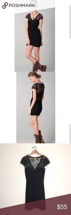 Free People lace envy bodycon dress Free People lace envy bodycon dress in black. In excellent condition! This beautiful dress is perfect for absolutely any special occasion, girls night out or date night. Pair with brown leather cowgirl boots and a simple bronze necklace as pictured. Price is firm. Free People Dresses Mini