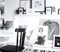 black white interiors