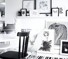 black-and-white-interiors-decorate-wall-frame-art-display