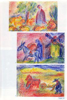 Tafel 24: Malwerke in Bienenwachsfarben: Berufe 02 (ab 3. Schuljahr) 4. Schäfer in rot-blauem Gewand und rot-blauem Schäferhut mit gelb-roten Schafen und rotem Wachhund auf blauem Boden mit blau-rot-gelbem Himmel 5. Kunde in Blau mit Esel in Blau mit Mehlsack auf dem Esel in Rot mit Windmühle im Hintergrund in Gelblich-Grün mit rotem Dach auf gelb-grünem Boden und mit Himmel in Rot-Blau (...)