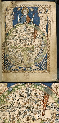 Very interesting. I've seen the Psalter world map before (mappa mundi) from 1265. It deals less with accurate geography than it does with politics, ethnography, and the Bible. At the center of the map is Jerusalem.