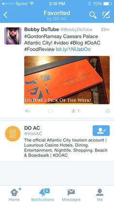 The DoAC visit Atlantic City campaign like my review of Gordon Ramsay in Caesars Palace