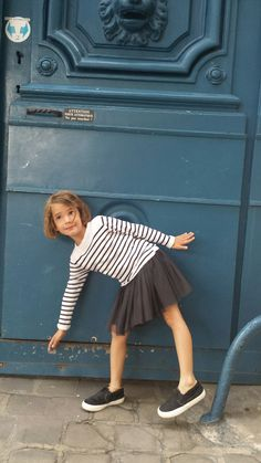 Sailor top and grey pleated skirt, French chic. #designer #kids #fashion