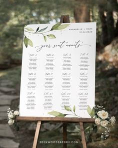 Greenery Wedding Seating Chart Sign Template  Purchase, personalize, and print within minutes! Edit using the Templett app in your computer browser – no additional software needed! Please try demo and seek clarification before purchasing the template.  FREE DEMO ━━━━━━ Free Wedding Invitation Templates, Seating Chart Wedding Template, Wedding Invitation Etiquette, Sign Templates, Wedding Invitation Suite, Seating Charts, Wedding Stationery, Wedding Balloon Decorations, Wedding Decorations On A Budget