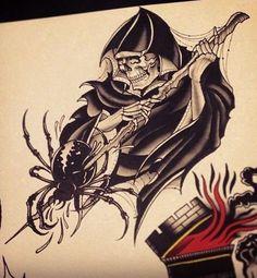 Эскиз тату со скелетом и пауком