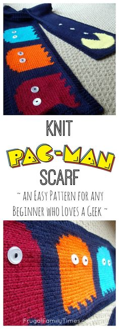 Knit Pac-Man Scarf ~ an Easy Pattern for any Beginner who Loves a Geek ~ | Frugal Family Times