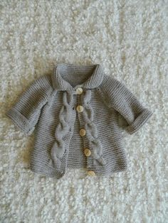 Knit Baby Sweater Cardigan Cabled With Wooden by RodiAndSuzi, $38.00