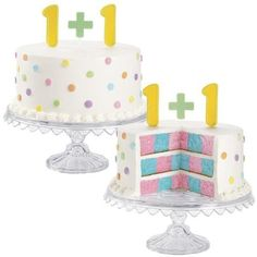 Twin Gender Reveal Cake: Follow Wiltons recipe using the brands checkerboard cake pan ($16) to create a cake that reveals shes having a  boy . . . and a girl!