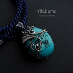 Adriatic  beautiful twosides wire wrapped  silver by AlabamaStudio, zł750.00