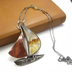 Agate, Sterling Silver, and Copper Sailboat Necklace