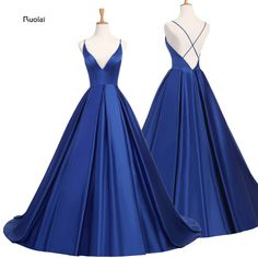 Cheap robe de soiree, Buy Quality satin evening dress directly from China dress evening gowns Suppliers: Royal Blue Sexy Satin Evening Dresses 2018  Long A line Prom Dresses Evening Party Dresses Evening Gown Open Back Robe De Soiree