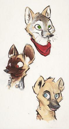 Representation! by MonoFlax.deviantart.com on @DeviantArt #characters #species #zootopia Swift fox, African wild dog, Hyena.