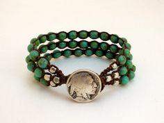 Macrame Bracelet, Green Turquoise and Metal Beads, Indian Head Nickel Button, Western Jewelry, Boho Chic, Beaded Macrame Bracelet