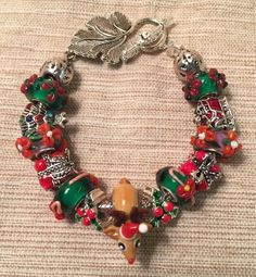European Charm Bracelet Murano Glass Beads Red Green Christmas Reindeer Santa + #Handmade #European