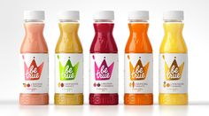 Packaging with coloured foil and raised surface details designed by Studio In for Russian smoothie brand Be True.