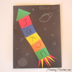 5 Adorable Preschool Name Crafts Your kids will love these adorable Preschool Name Crafts. They are great for the classroom or to do with the younger kids at home. Preschool Name Crafts, K Crafts, Daycare Crafts, Letter A Crafts, Space Crafts, Toddler Crafts, Space Preschool, Preschool Literacy, Preschool Education