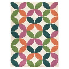 Hand-hooked 100% wool rug with geometric leaf motif.  Product: RugConstruction Material: 100% WoolCo...