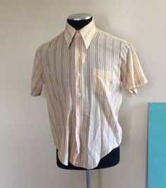 A personal favorite from my Etsy shop https://www.etsy.com/listing/232049672/1970s-earthtone-striped-button-down