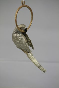 1430: SILVER PARROT ON GOLD RING DRESDEN ORNAMENT : Lot 1430