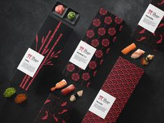 The Japanese Counter / Sushi Bar on Behance Best Picture For Sushi ingredients For Your Taste You are looking for something, and it is going to tell you exactly what you are looking for, and you didn' Label Design, Graphic Design, Package Design, Logo Design, Sushi Ingredients, Sushi Platter, Salmon Roe, Ads Creative, Creative Package