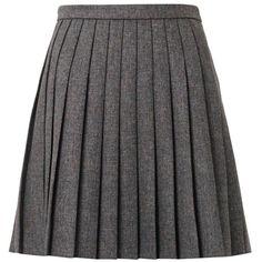 SAINT LAURENT Pleated natté-wool mini skirt (€845) ❤ liked on Polyvore featuring skirts, mini skirts, юбки, dark grey, layered mini skirt, layered skirt, wool pleated skirt, crop skirt and short skirts