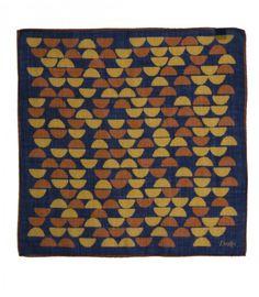 Navy Indian Block Print Wool and Silk Pocket Square
