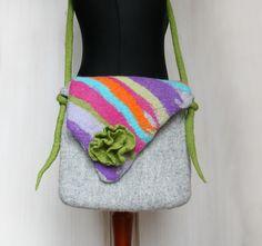 Handmade organic felted multicolor over shoulder by FeltStream, €59.90