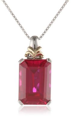 "S&G Sterling Silver and 14k Yellow Gold Emerald Cut Created Ruby Pendant Necklace, 18"" www.fashionbug.us"