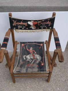 Rare Children Size Hopalong Cassidy Official Bar 20 Folding Wooden T V Chair